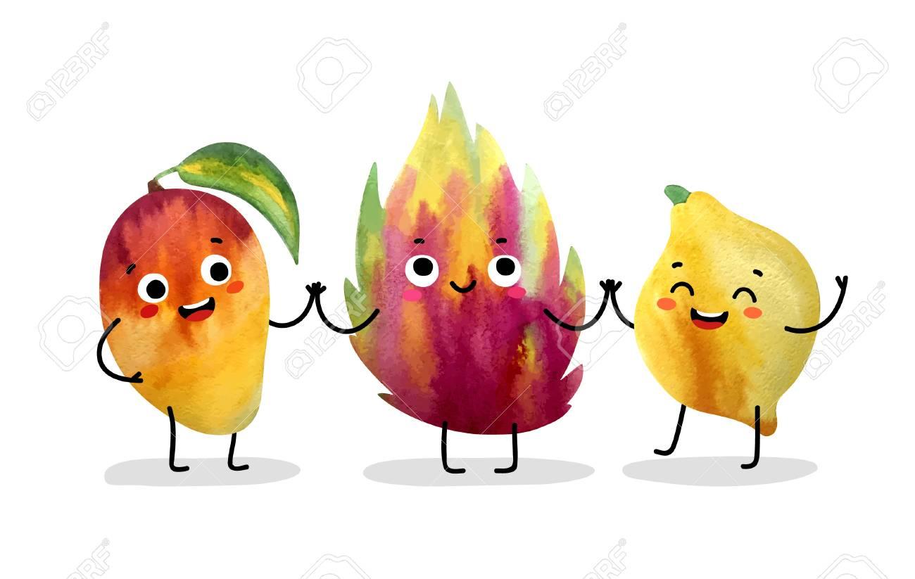 Watercolor cute fruit characters. Vector illustration. - 99746490