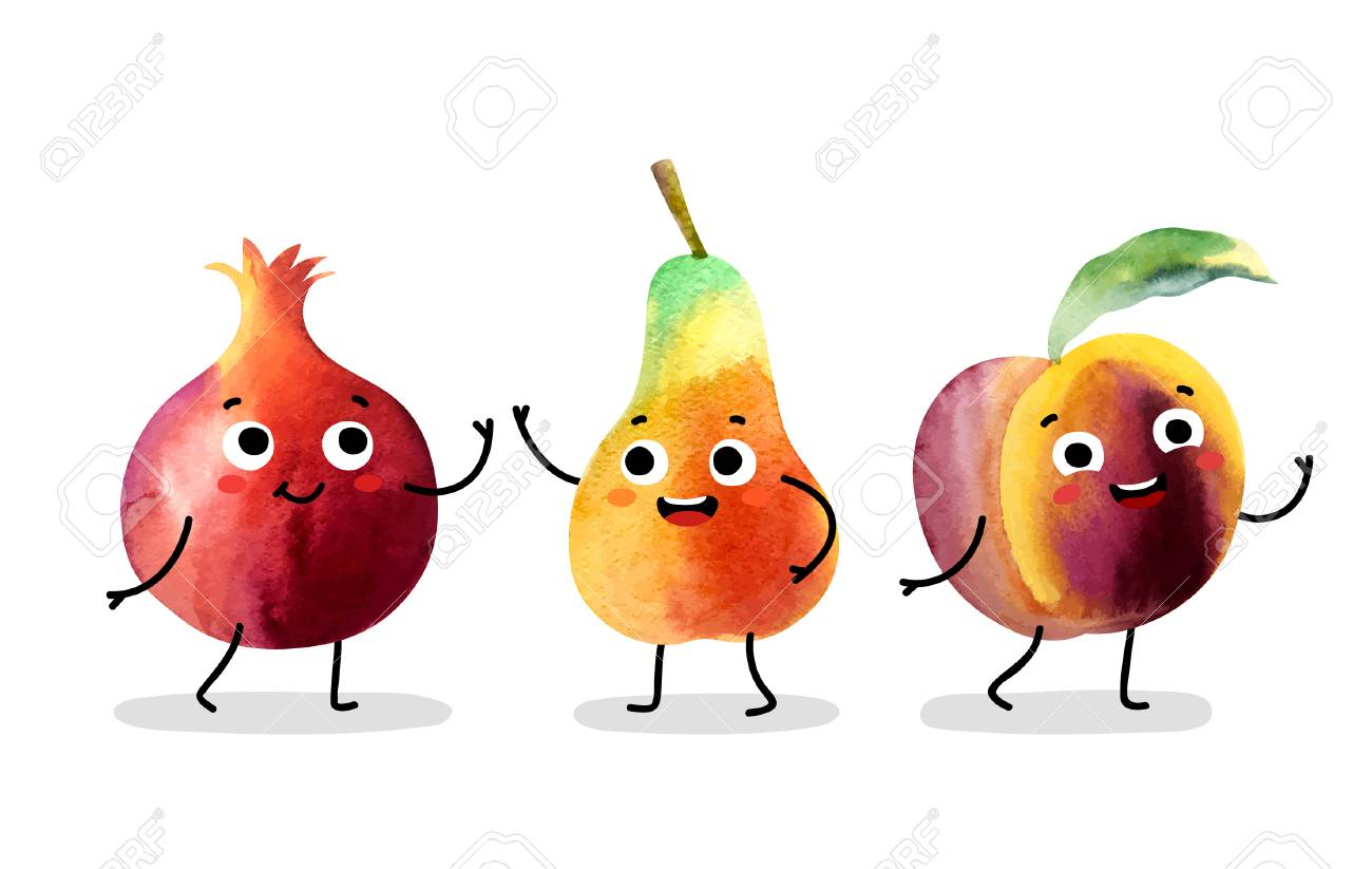 Watercolor cute fruit characters. Vector illustration. - 99746493