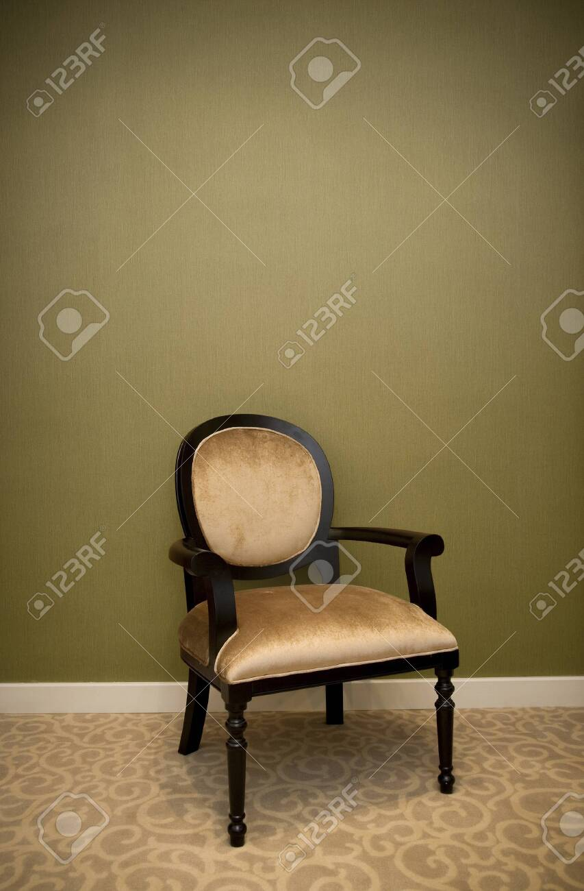 classic chair style in vintage room with green wall - 149722821
