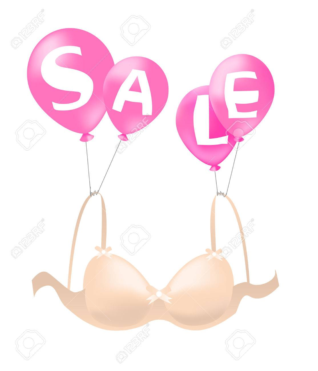 Balloons Carrying Bra, Announcing Sale Royalty Free Cliparts ...