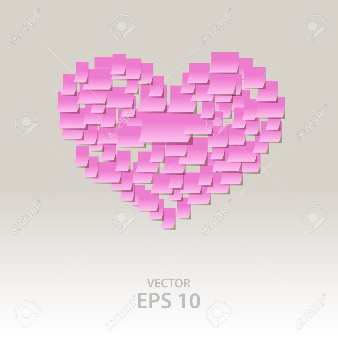 Sticky notes heart shape, office confession on a valentine's day Stock Vector - 12014534