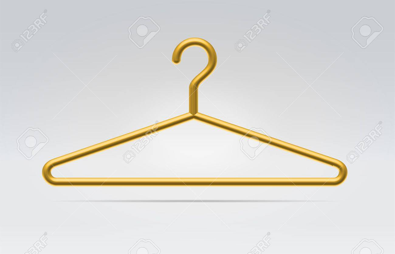 Realistic golden hanger icon for fashion clothes hanging in space realistic golden hanger icon for fashion clothes hanging in space on a neutral background stock photo biocorpaavc
