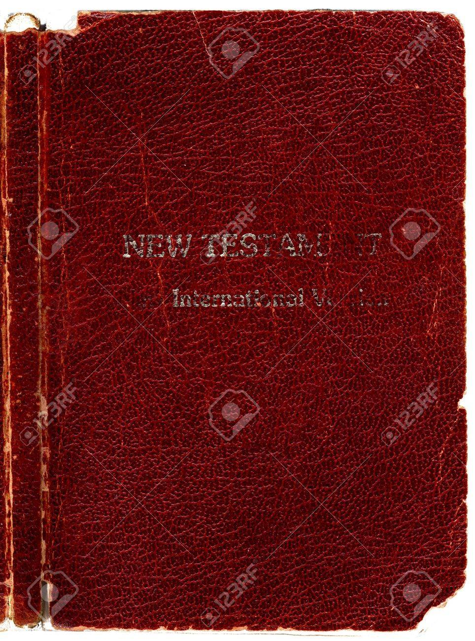 Old Rugged Leather Bible Book Cover New Testament With Spine Hi Res Scanned