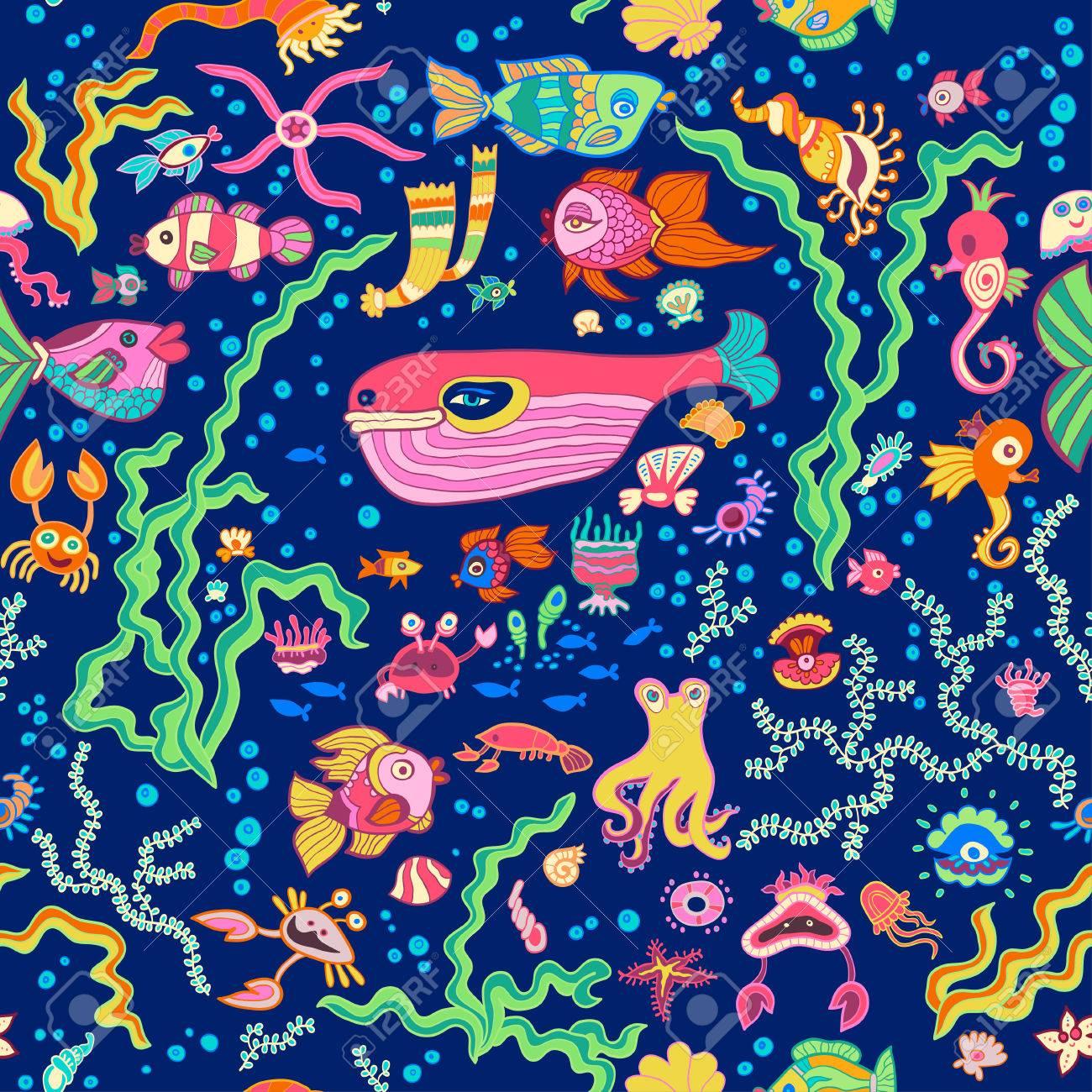 Childish pattern with marine life Stock Vector - 27567307