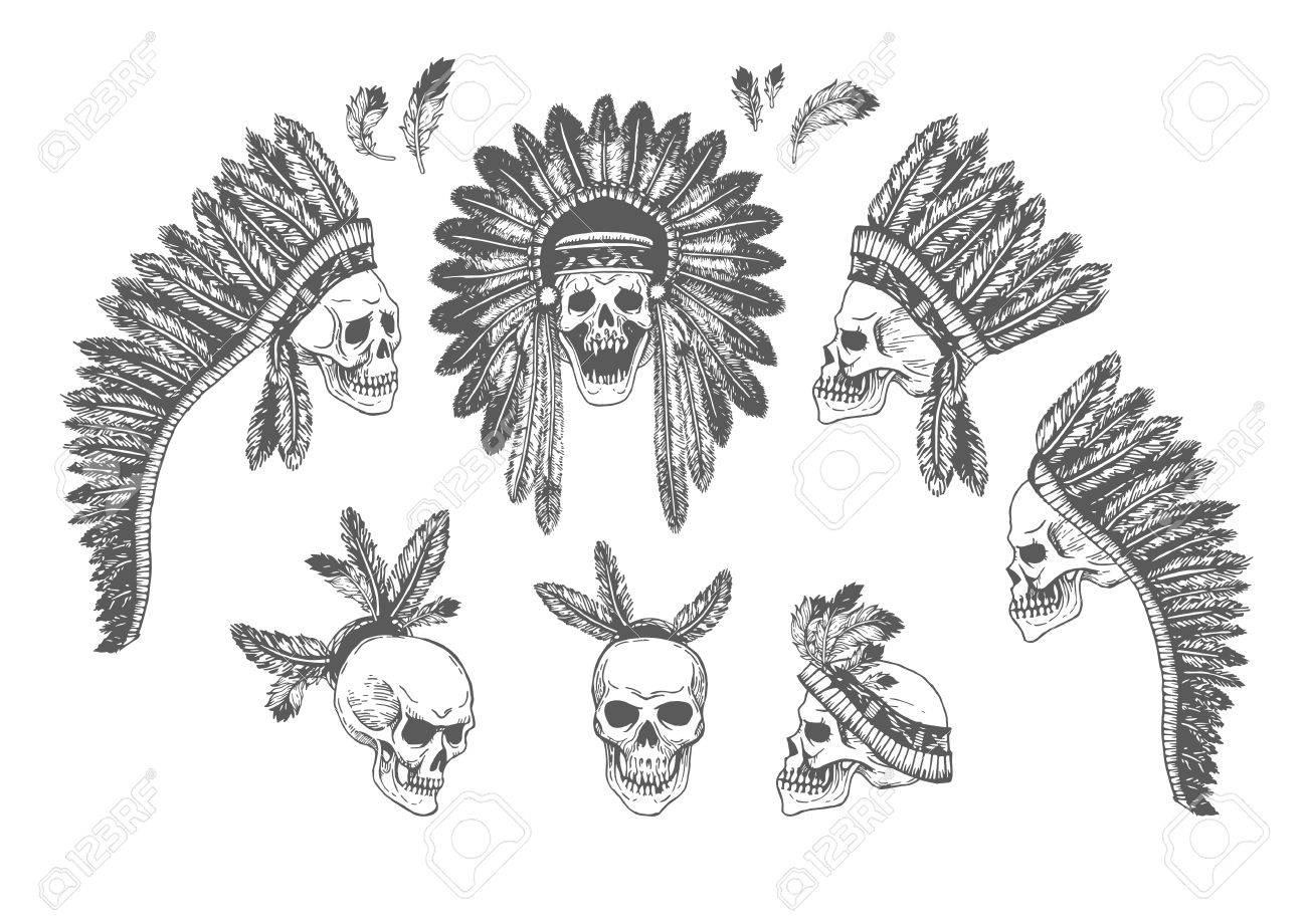 f772cb2b8 Set of 7 Hand Drawn American Indian Headdress With Human Skulls. Vector  Monochrome Illustration with