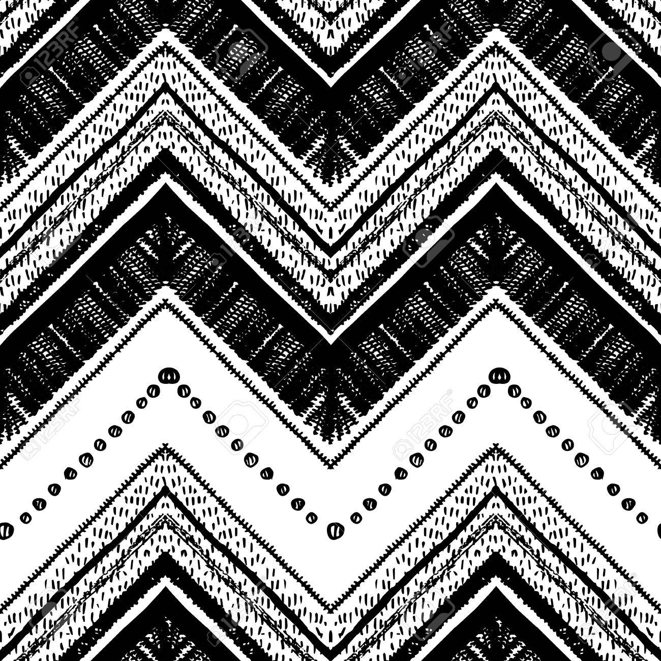 Hand Drawn Tribal Pattern Black And White Colors For Textile