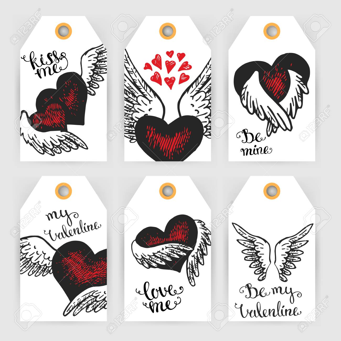 Set Of Valentine Gift Tags With Hearts And Wings In Red And White