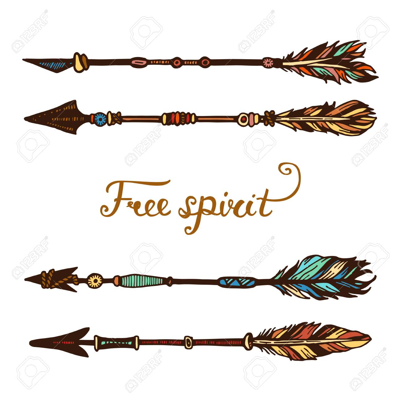 Set Of Trendy Hipster Hand Drawn Arrows Rustic Decorative Drawing