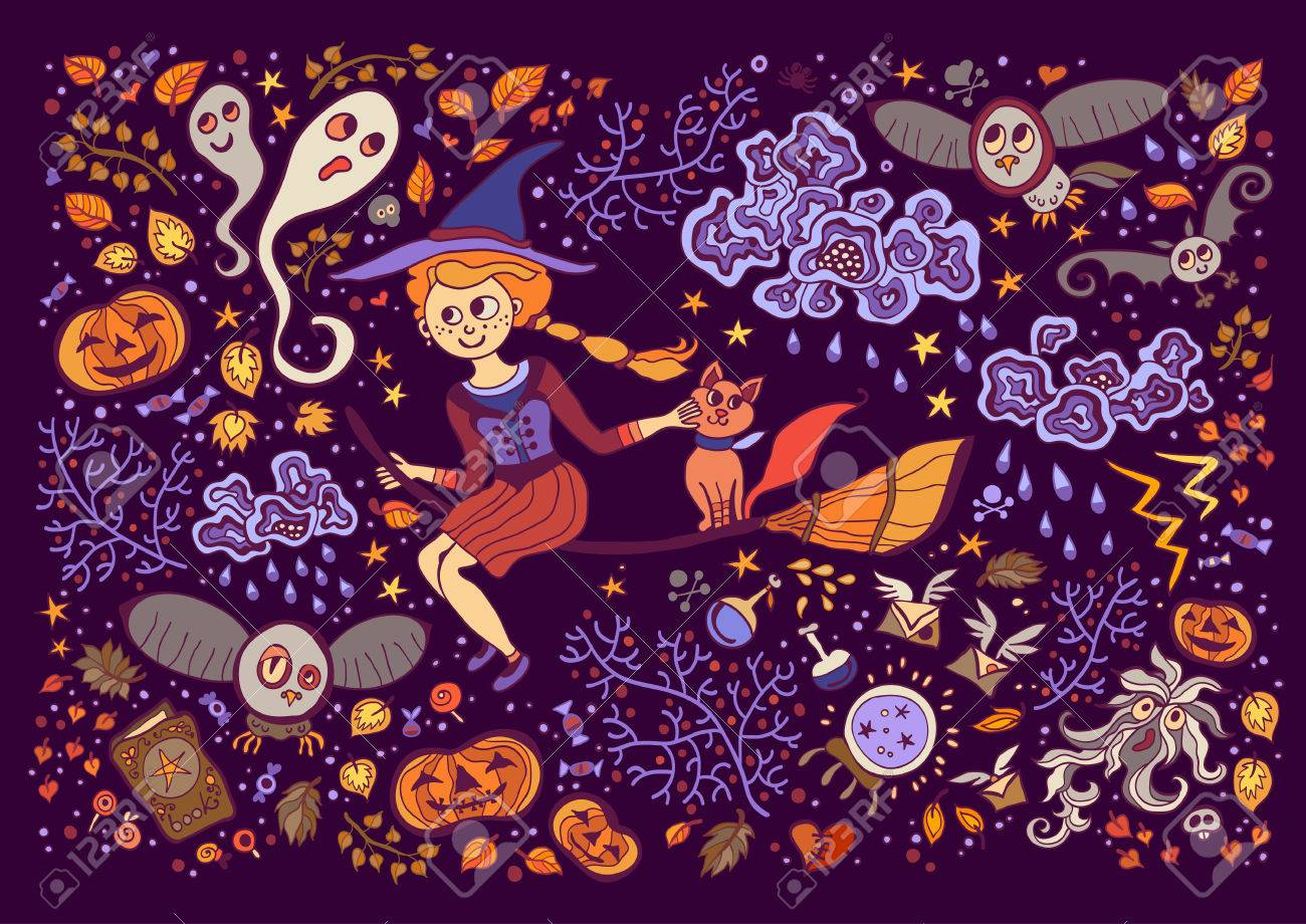 Most Inspiring Wallpaper Halloween Purple - 58172733-set-of-halloween-elements-beautiful-wallpaper-with-cartoon-characters-collection-with-witch-cat-broo  Graphic_672210.jpg