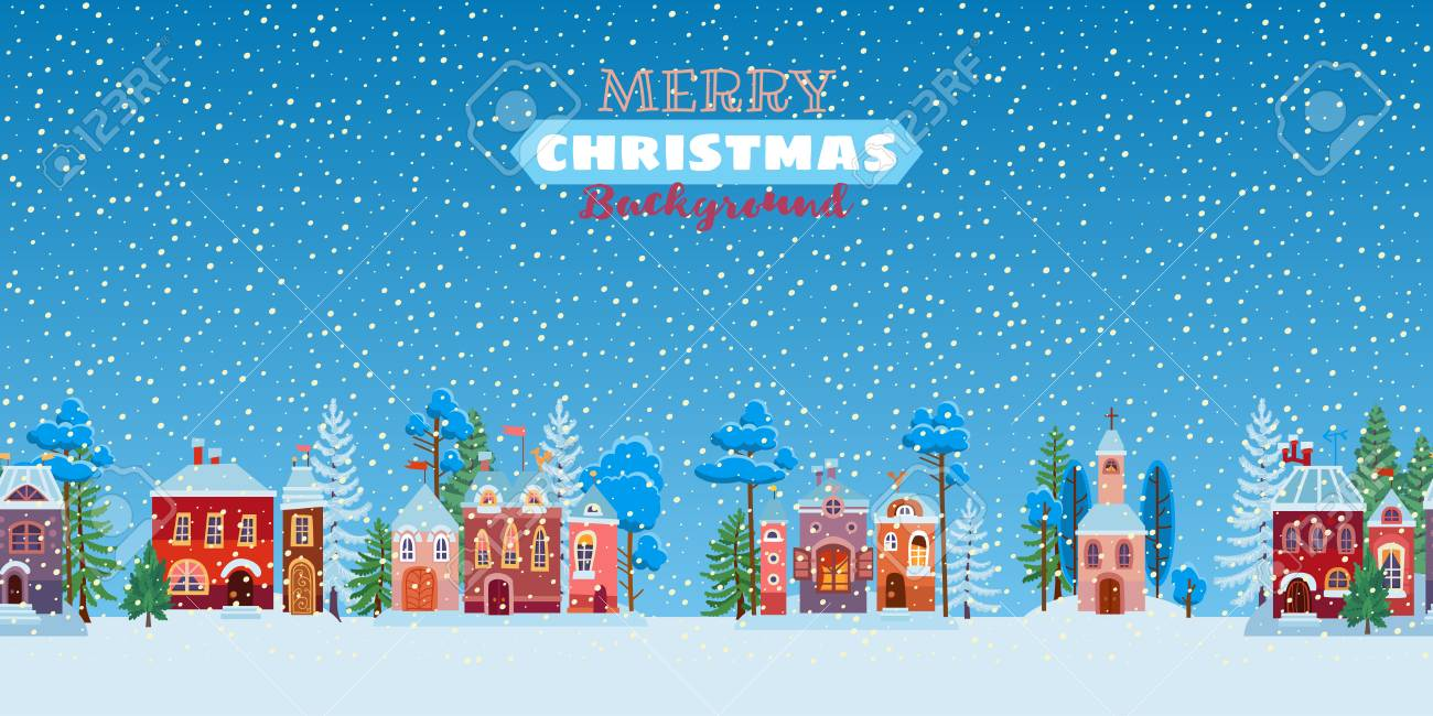 Christmas Celebration Cartoon Images.Snowy Christmas Street Winter City Panorama Cartoon Town At