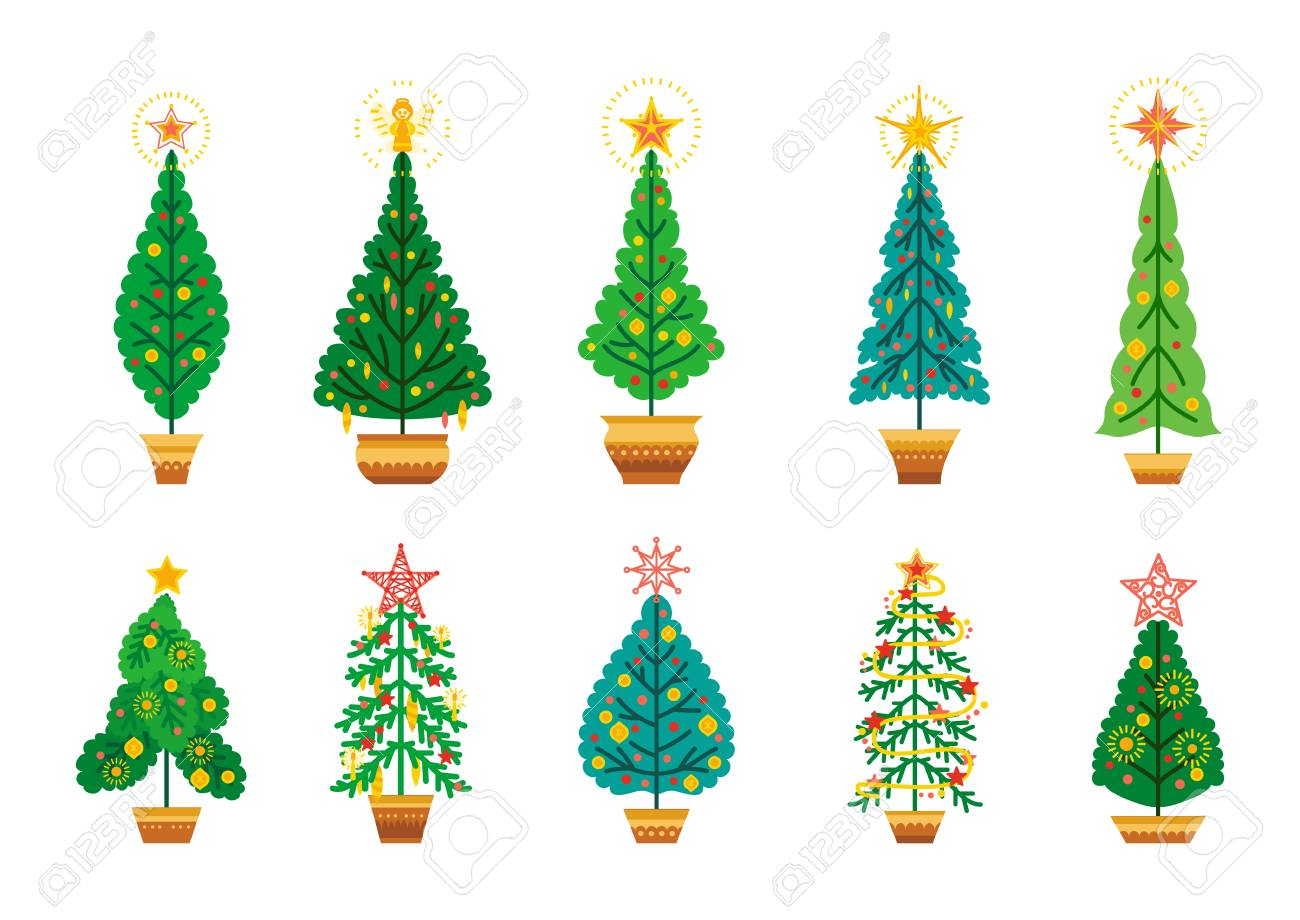Winter Vector Set Of Cartoon Christmas Tree Different Fir Tree Royalty Free Cliparts Vectors And Stock Illustration Image 124711368 Trees cartoon free brushes licensed under creative commons, open source, and more! winter vector set of cartoon christmas tree different fir tree