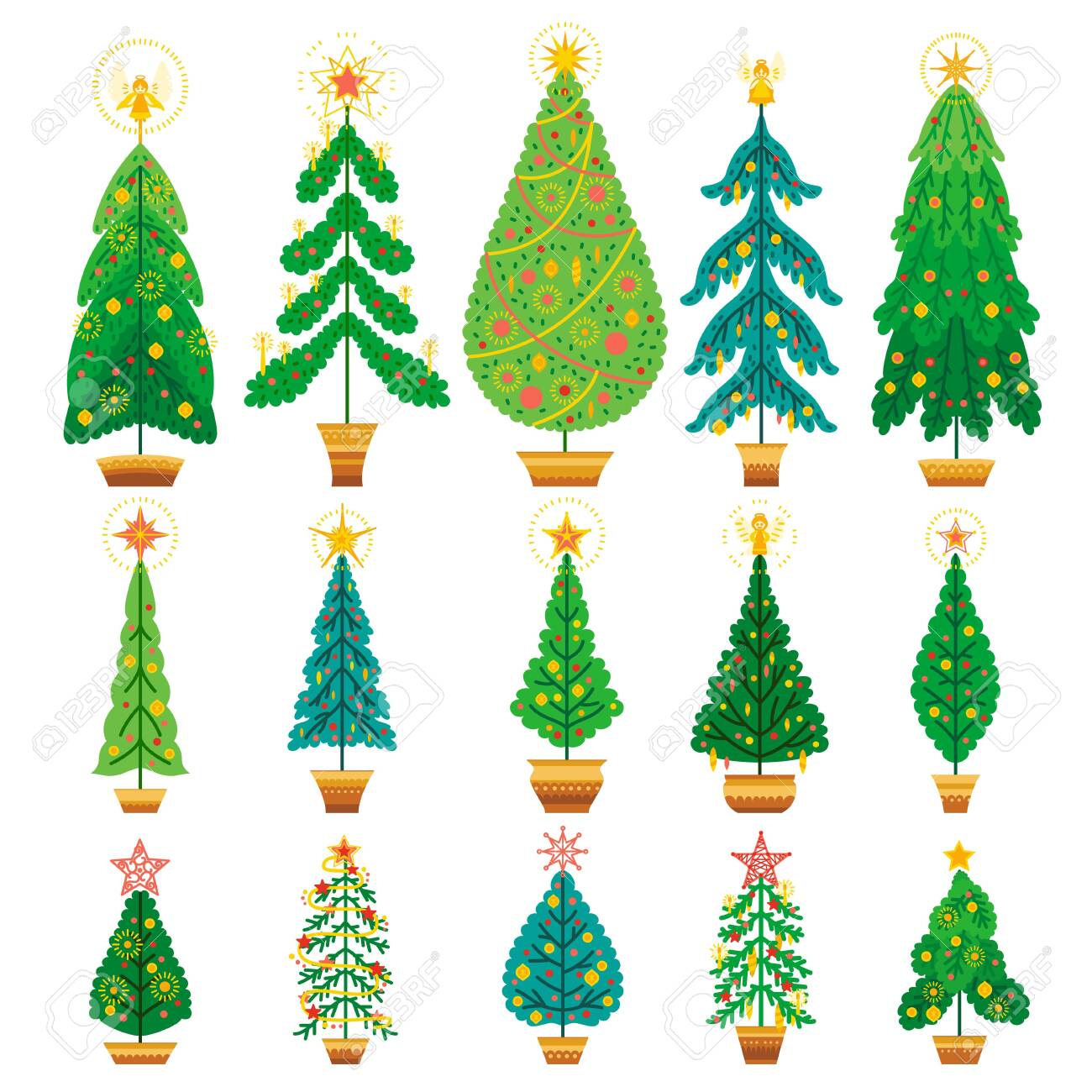 Winter Vector Set Of Cartoon Christmas Tree Different Fir Tree