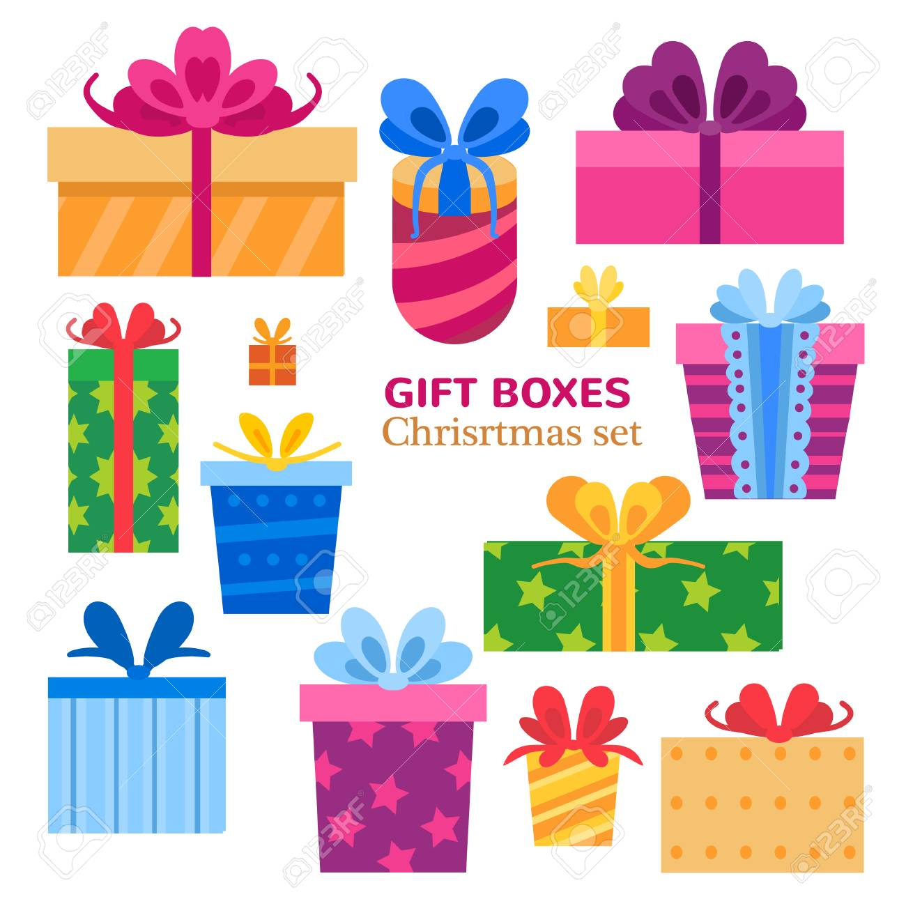 Vector set of different gift boxes. Flat design. - 121675599