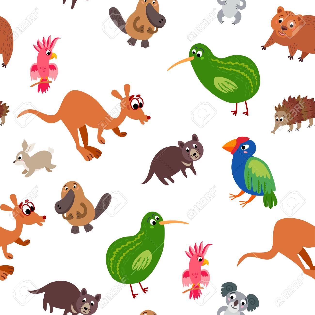 Wild Australia Animals Seamless Pattern Australian Cute Drawing