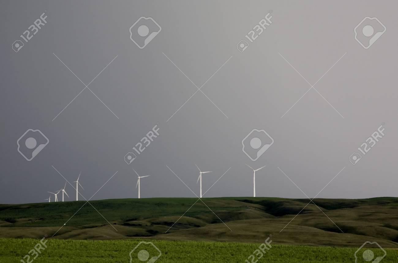 Storm Clouds Saskatchewan wind farm Swift Current Canada Stock Photo - 16226302