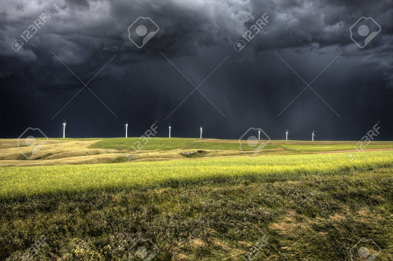 Storm Clouds Saskatchewan wind farm Swift Current Canada Stock Photo - 16233381