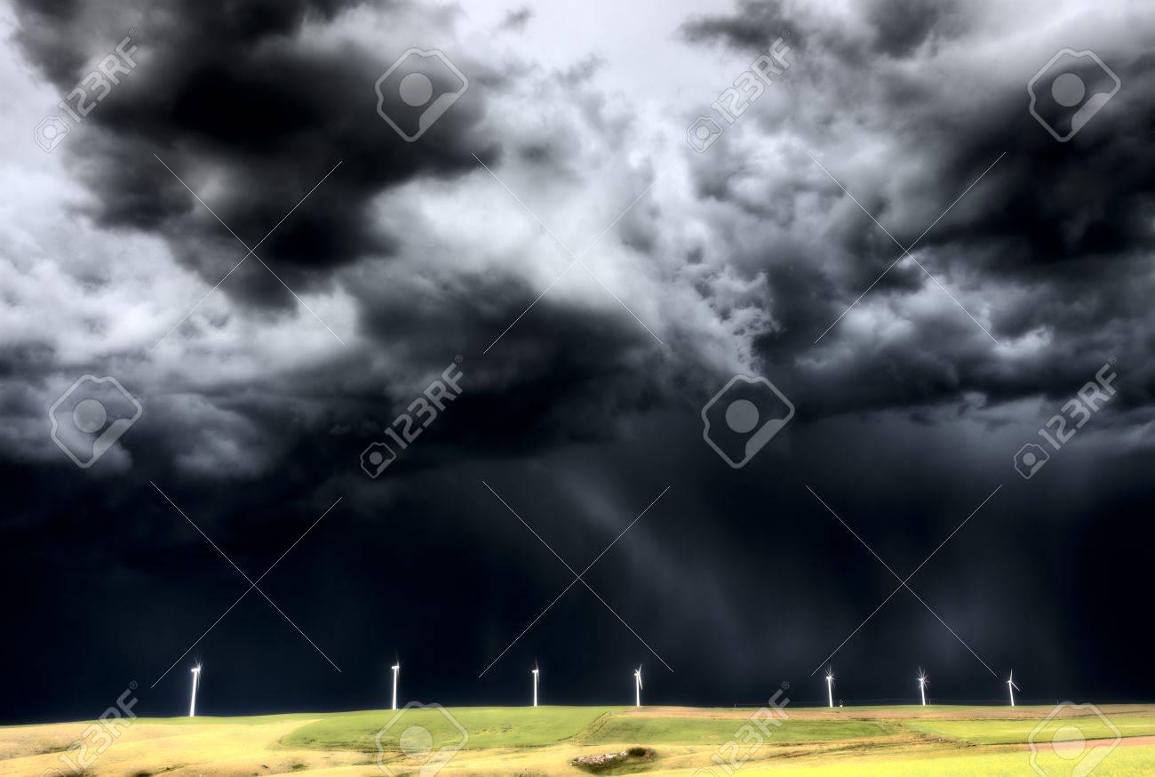 Storm Clouds Saskatchewan wind farm Swift Current Canada Stock Photo - 16226482