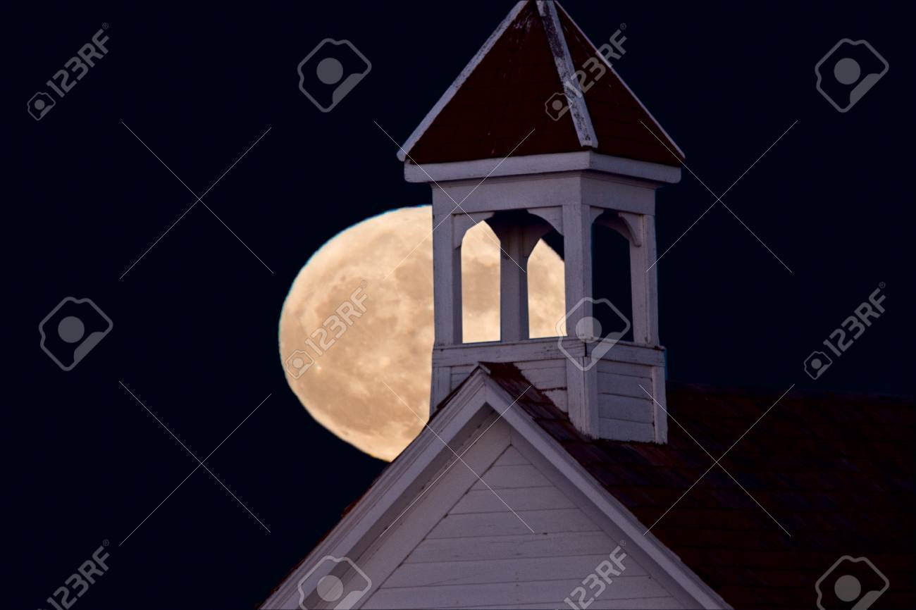 Full Super Moon Over Country Church Canada Stock Photo Picture And
