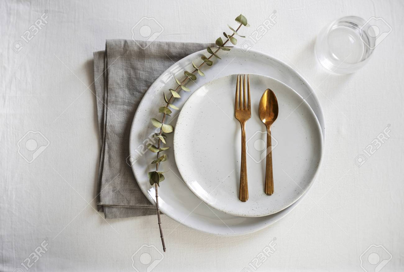 A Beautiful, Minimal Table Setting With Organic, Handmade Gray ...