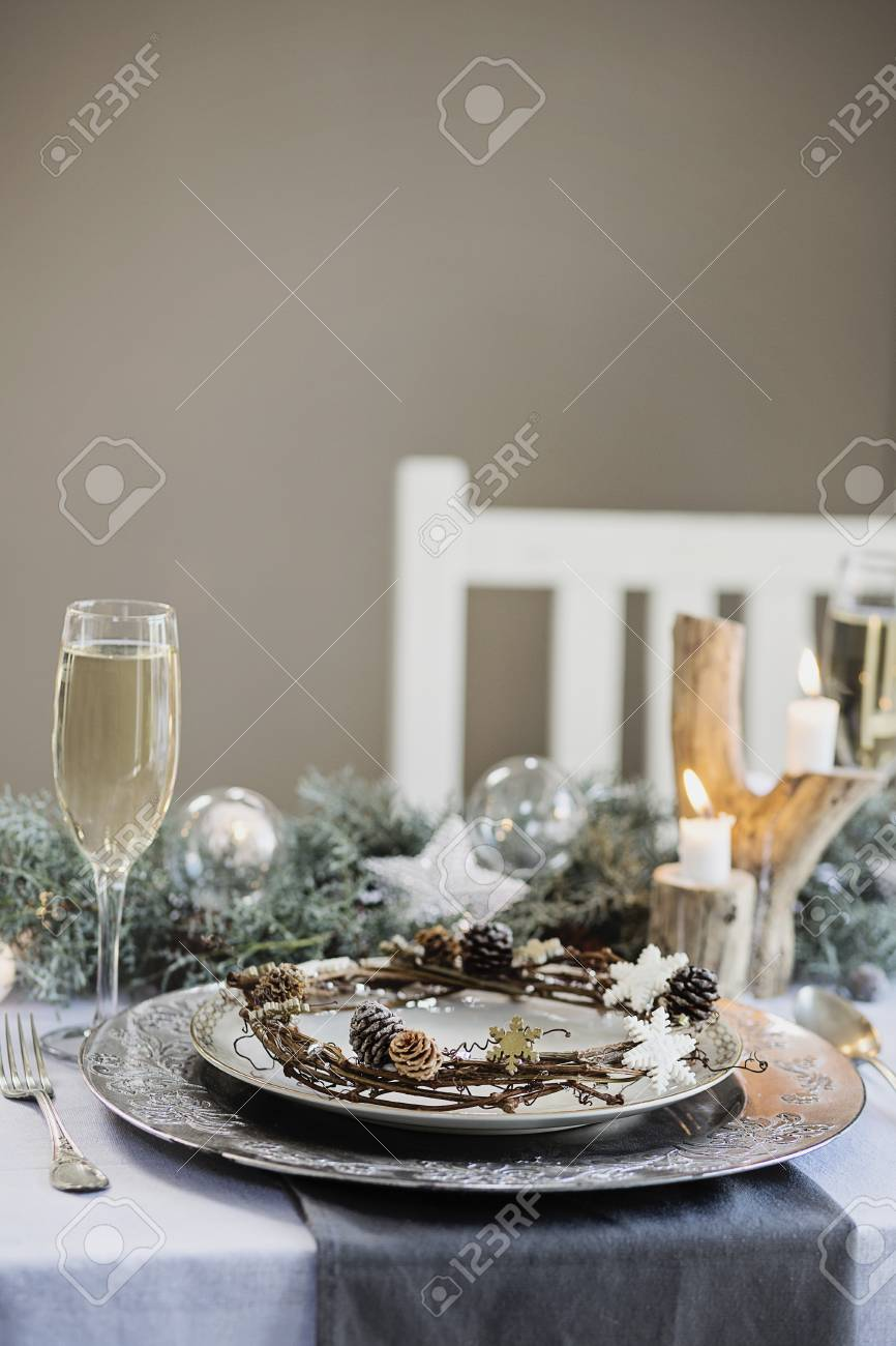 Holiday Celebration Table Setting. White, Gold And Silver Christmas ...