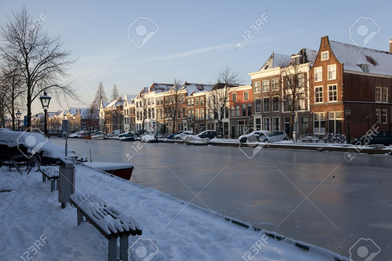 Frozen canal in winter in Holland Stock Photo - 9128652