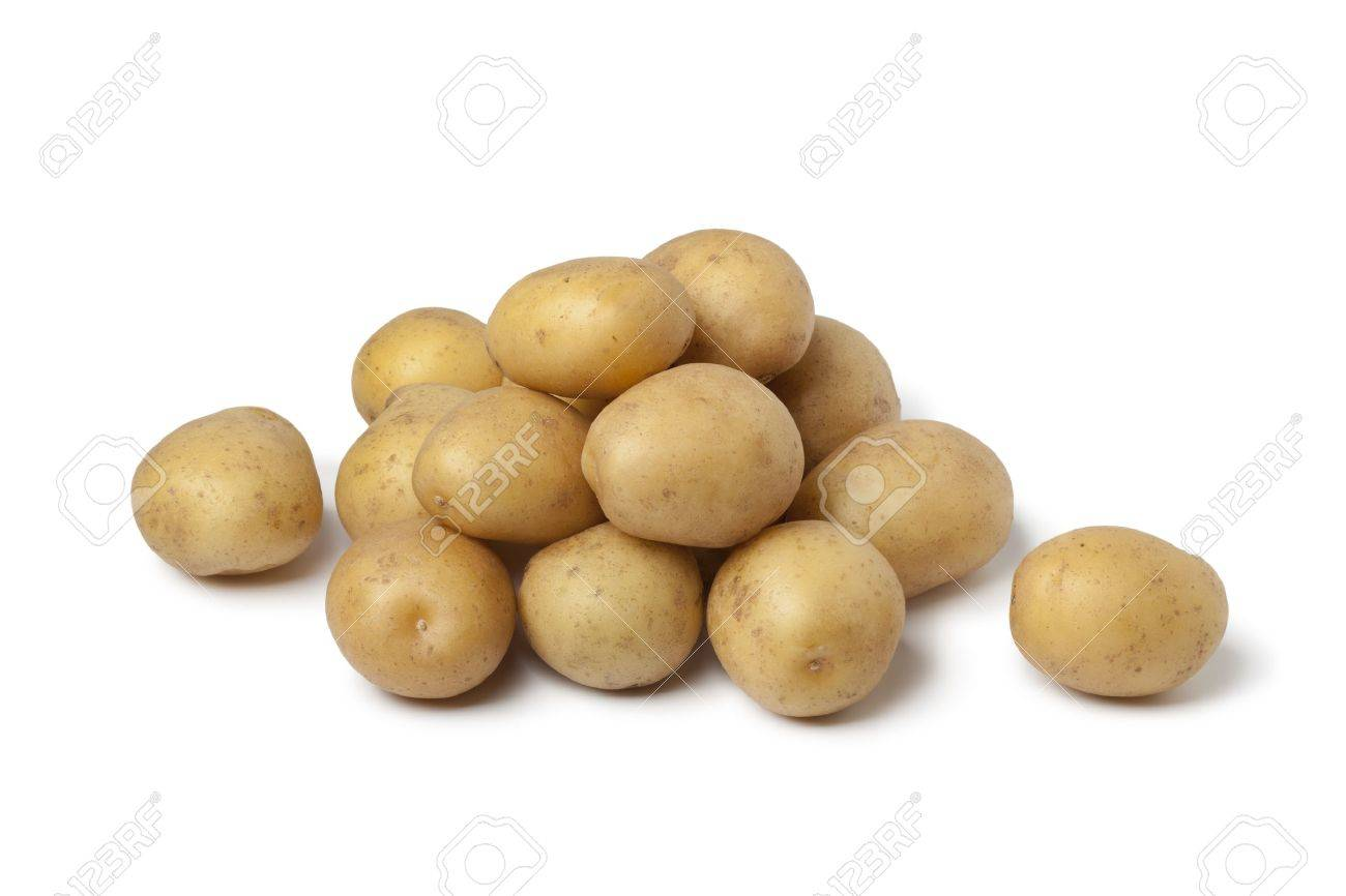 Small new potatoes on white background - 14040850