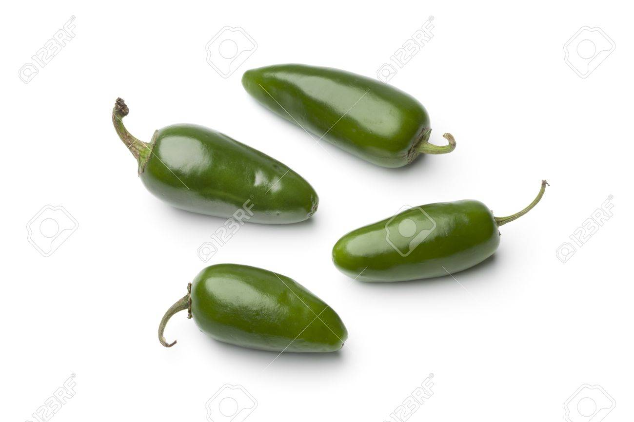 Fresh green Jalapeno chili peppers on white background - 14287173