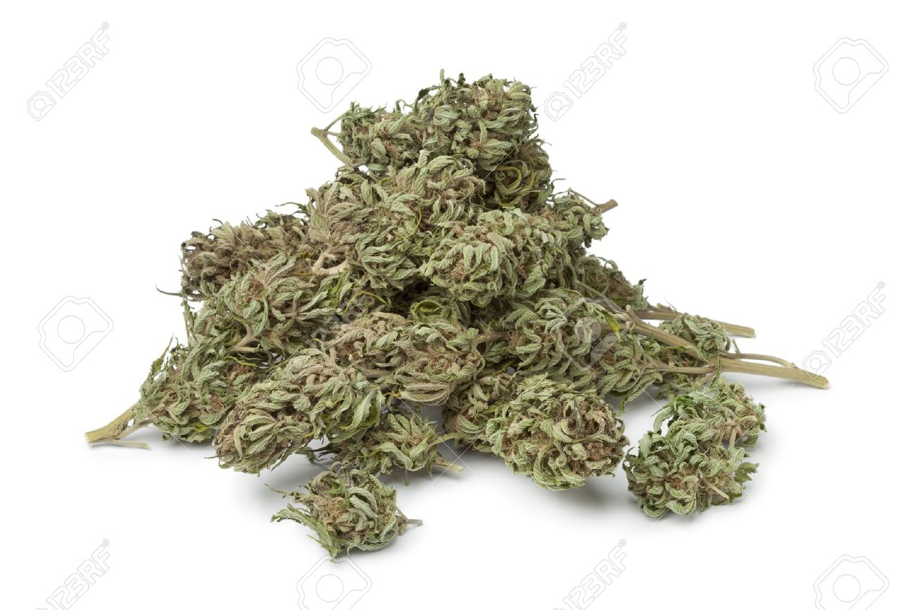 Dried marijuana buds with visible THC on white background - 17559929
