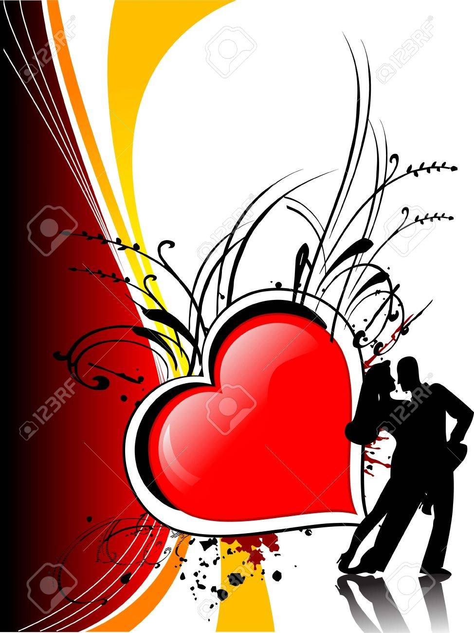 couple dancing on heart background Stock Photo - 3300733