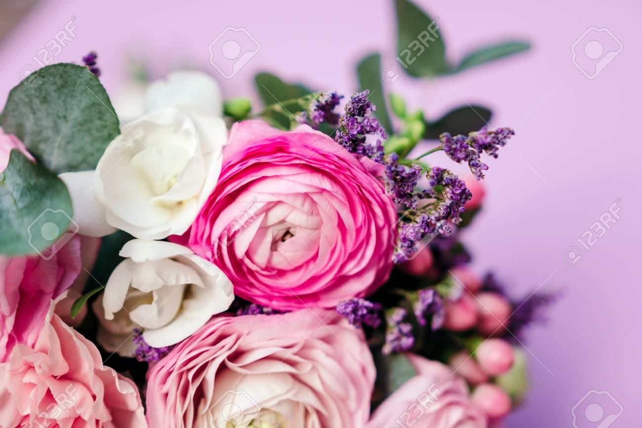 Delicate Wedding Bouquet Of Ranunculus Flower Freesia And Eucalyptus Stock Photo Picture And Royalty Free Image Image 76392320