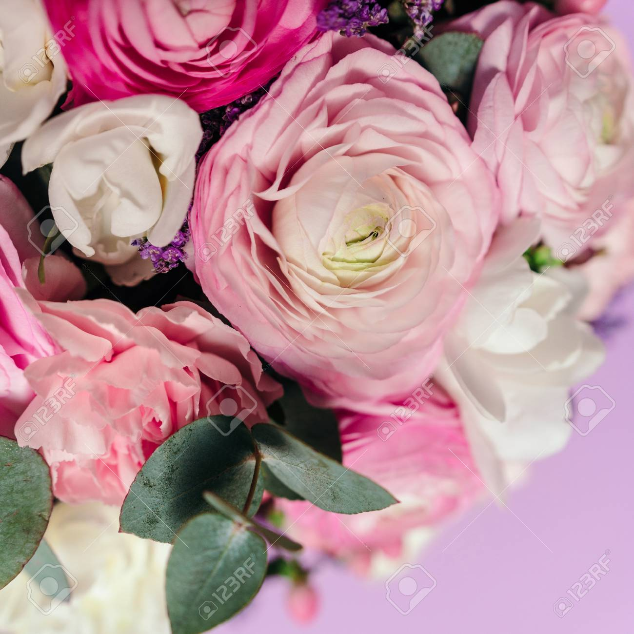 Delicate Wedding Bouquet Of Ranunculus Flower Freesia And Eucalyptus Stock Photo Picture And Royalty Free Image Image 76392322