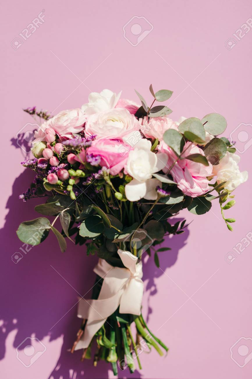 Delicate Wedding Bouquet Of Ranunculus Flower Freesia And
