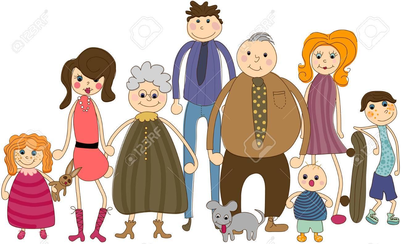 Big Family Portrait Stock Vector - 6129129