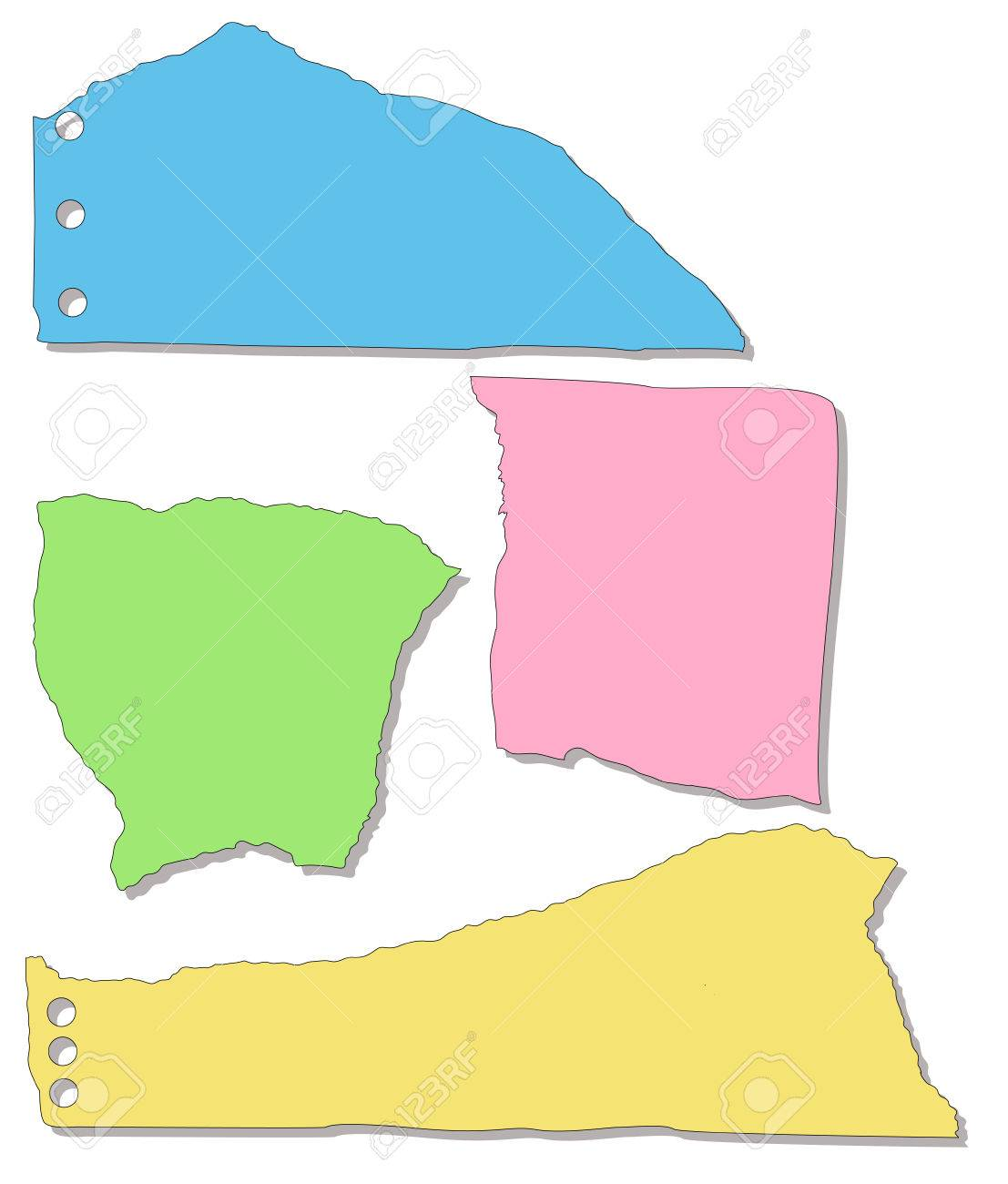 Set of Torn Paper from a Notepad Stock Vector - 6129122