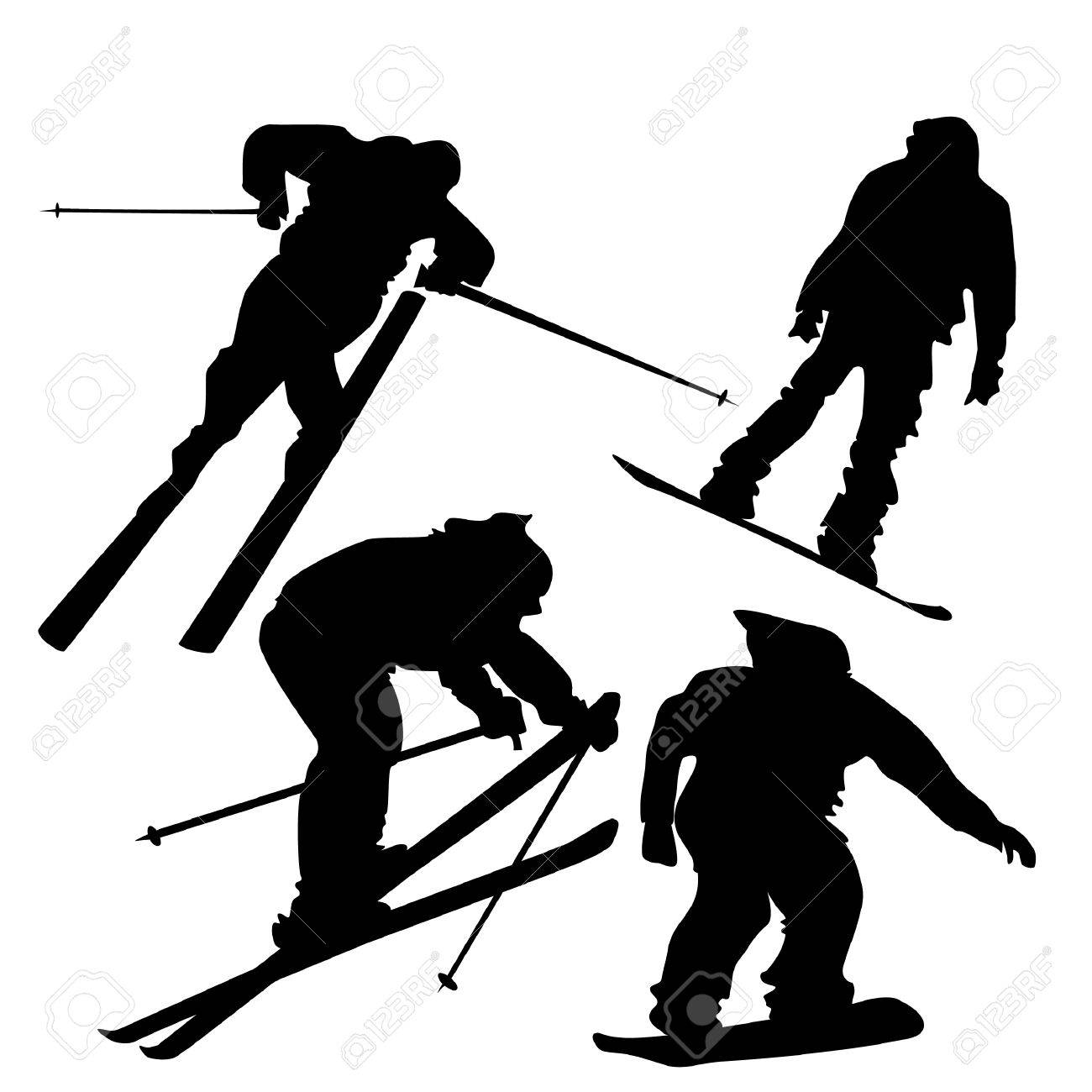 4 silhouettes of skiers and snowboarders in action. Stock Vector - 6226110