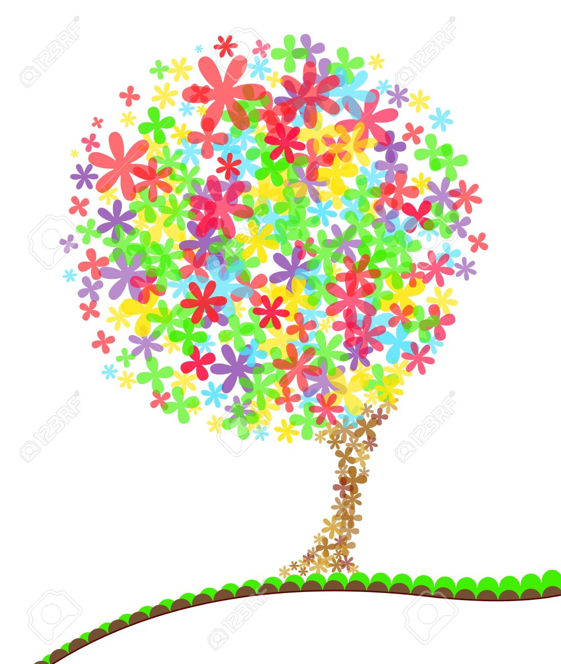 a bright colored stylised tree the flowers are transparent and rh 123rf com Galaxy Clip Art Cartoon Space