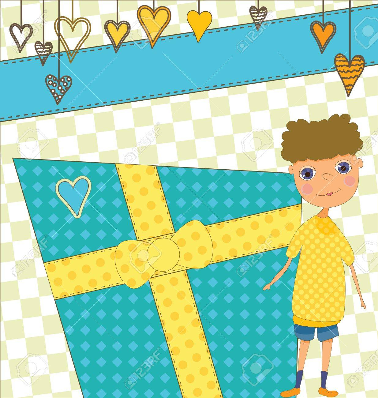 A Birthday card with a boy and a present. Stock Vector - 7368212