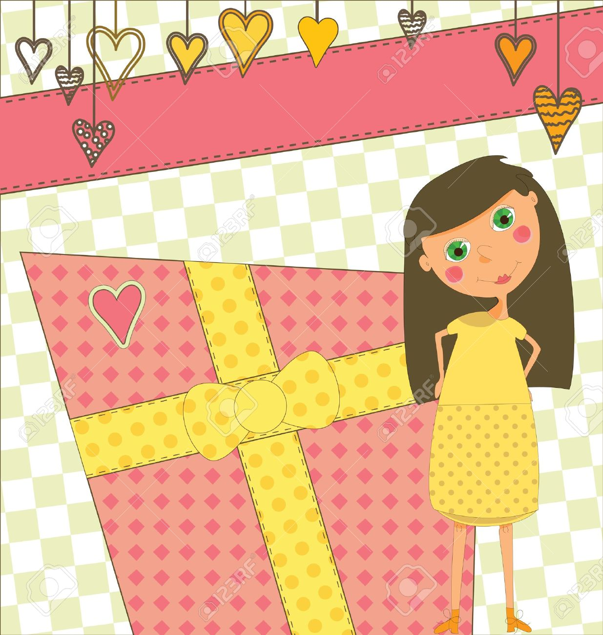 A Sweet Birthday Greeting With A Young Girl Royalty Free Cliparts