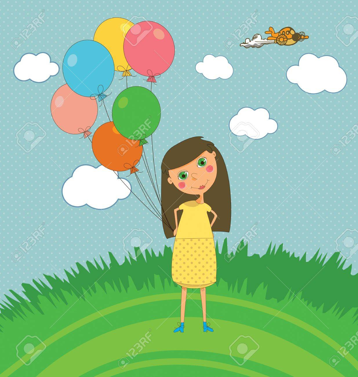 A cute kids party card with a girl holding balloons Stock Vector - 7368214
