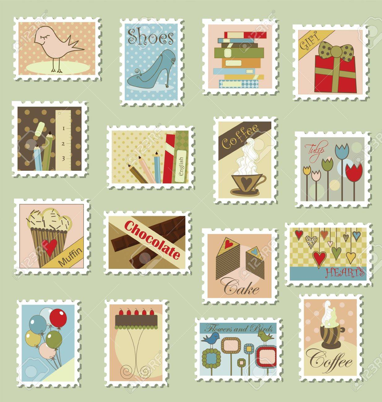 Various postage stamps with different subjects Stock Vector - 7417915