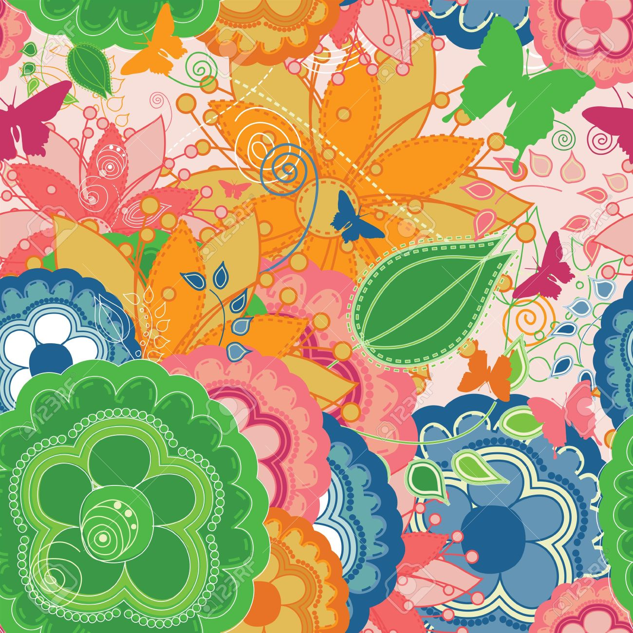 An unseamed colorful pattern that can be used for wallpapers and wrapping papers. Stock Photo - 7723136