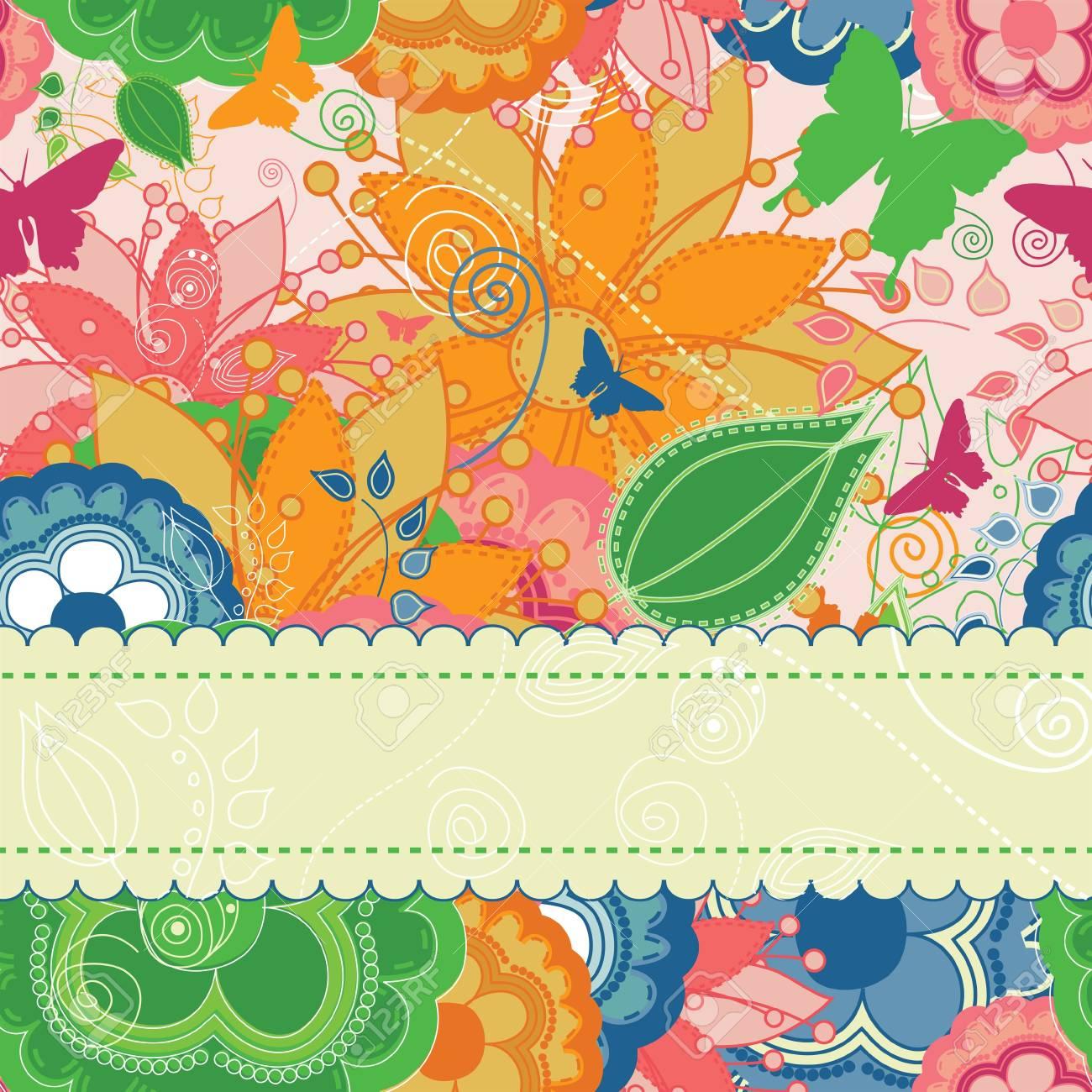 Elegant floral invitation or greeting card. Stock Vector - 7916053
