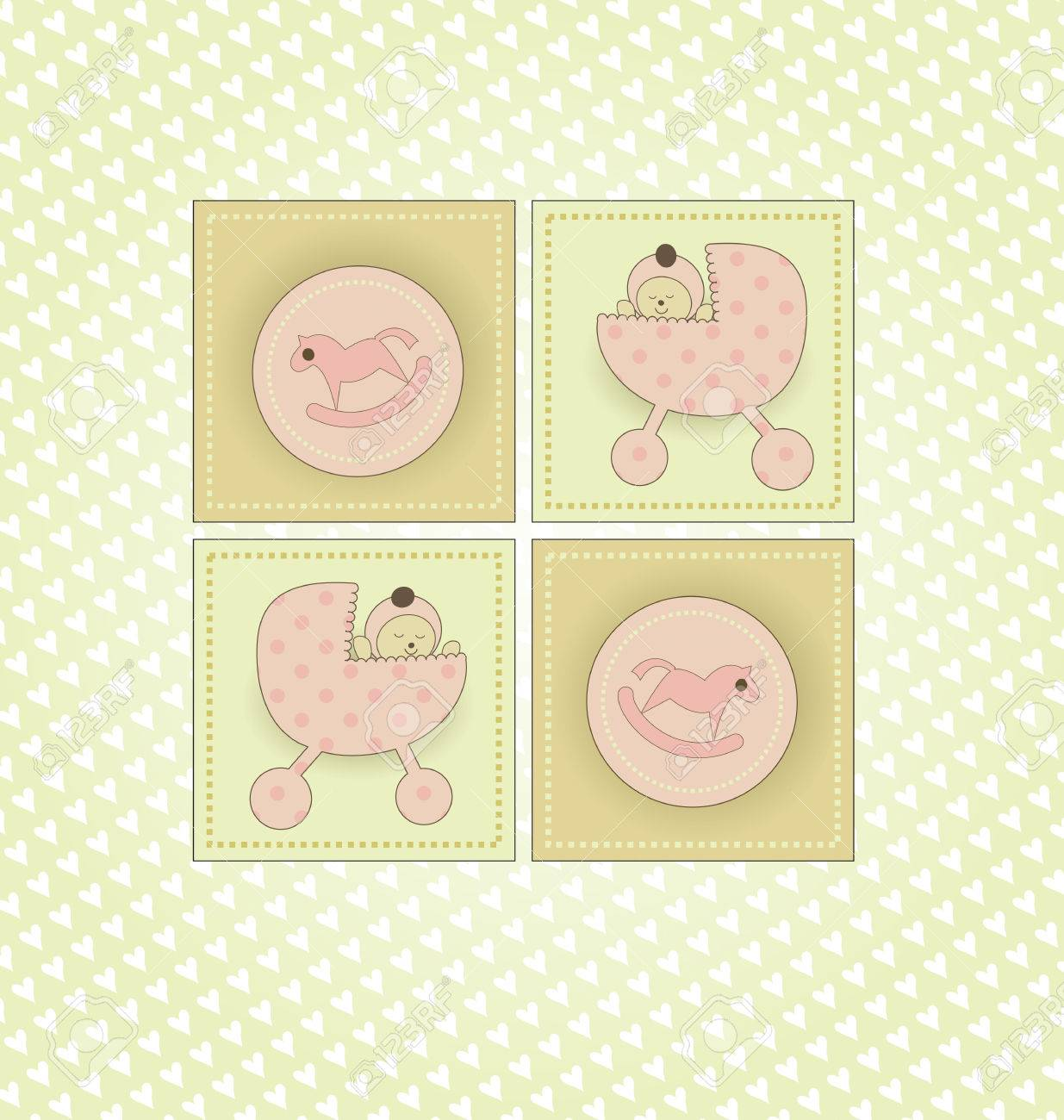 Sweet Welcome the New Baby Card Stock Vector - 8609884