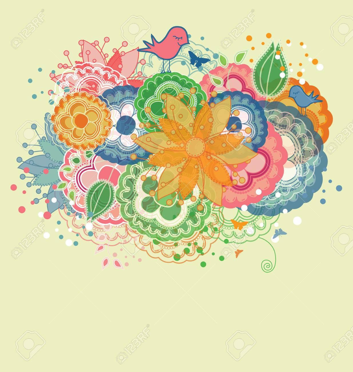Cartoon Birds and Rainbow Colored Flowers Stock Vector - 8609894