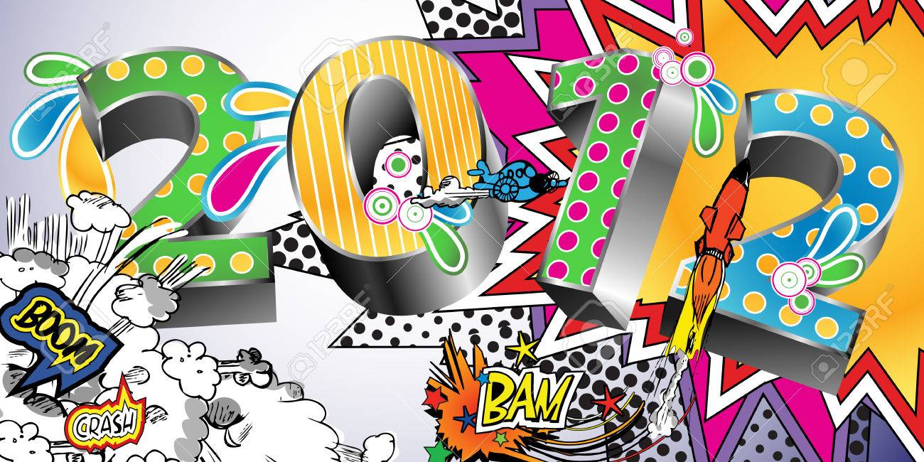 2012 in a Colorful Comic Book Style Stock Vector - 8609889