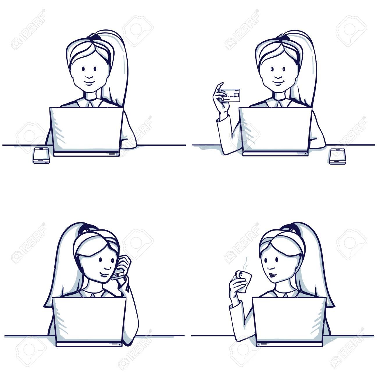 set of business woman cartoon illustration sitting scenes business