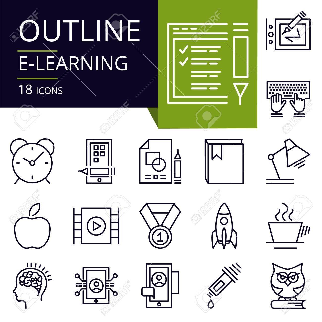 Satz Entwurfsikonen Von E Learning Moderne Icons Für Website