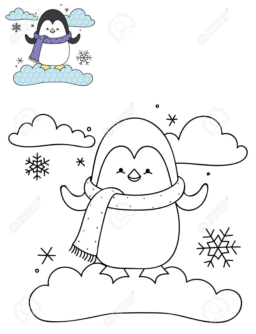 Coloring Page Outline Of Cartoon Cute Penguin On A Cloud. Hand ...
