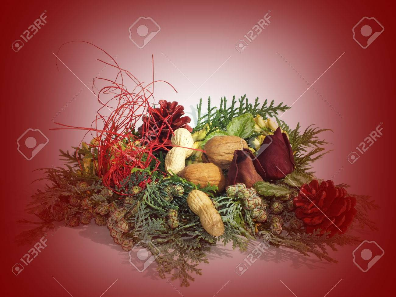 background with Christmas decoration from natural materials Stock Photo - 22211531