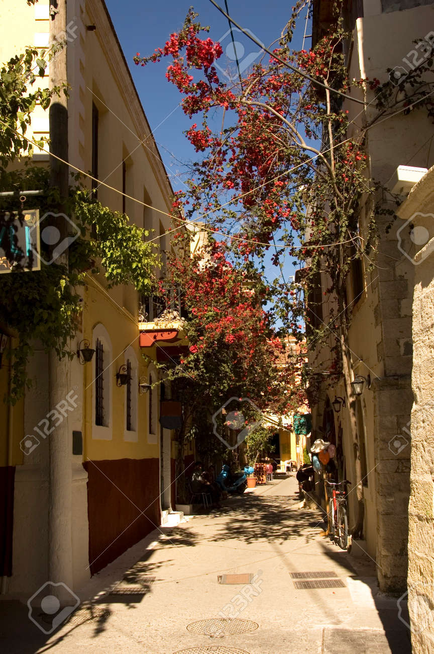 back alley of the old district of Chania village in Crete Island, Greece with typical Greek houses and bougainvillea Stock Photo - 1397384